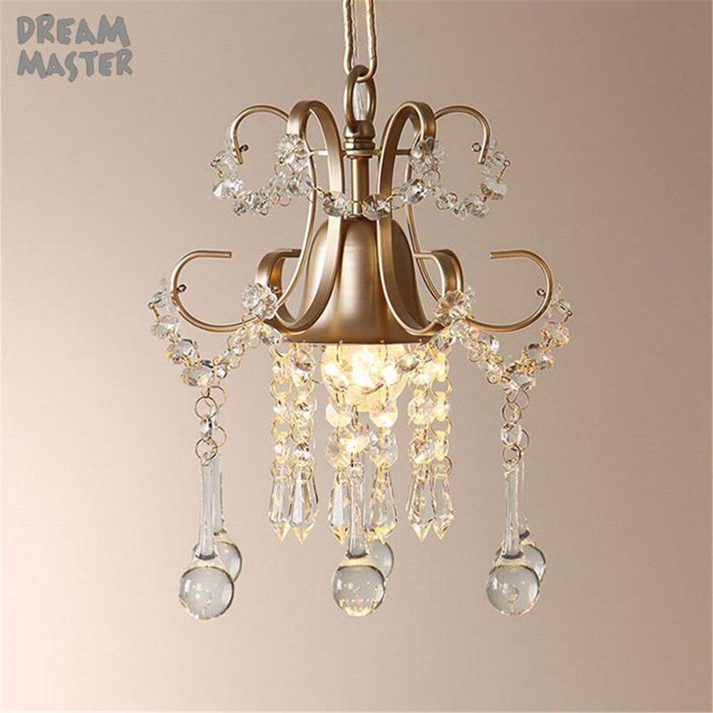 Europe Style Crystal LED pendant light Vintage Champagne gold white Iron hanging lamp indoor Decoration Hanging lighting fixture