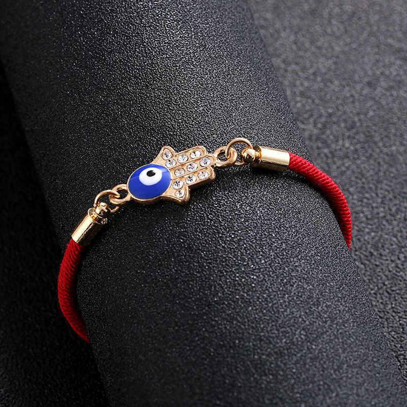 Grosir Trendi Tali Merah Fatima Hand Gelang Vintage Mata Jahat Hamsa Adjustable Tali Merah Braclet untuk Wanita Perhiasan