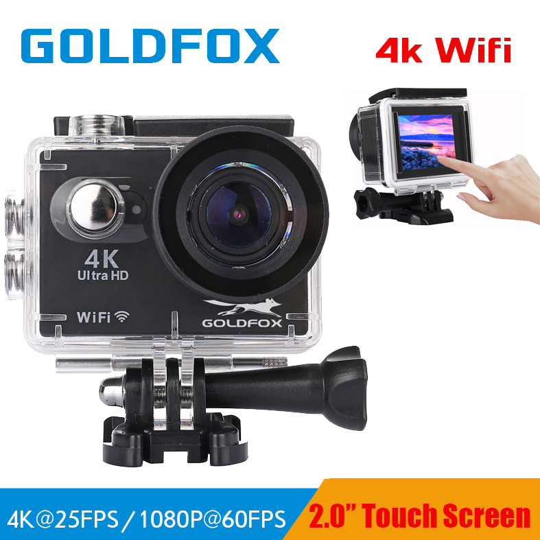 GOLDFOX S350 wifi 4K Ultra HD Action Camera Touch Screen 1080p/60fps 170D Lens 16MP camera 30M go waterproof pro sport camera DV eken h9 h9r original action camera ultra hd 4k 25fps 1080p 60fps wifi 170d sport video camcorder dvr dv go waterproof pro camera