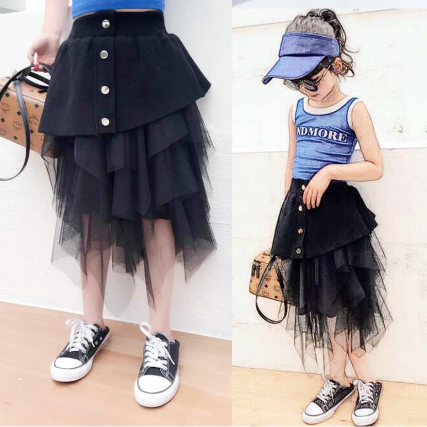 Teenage skirts spring autumn new fashion mesh patchwork knitting Asymmetrical skirts for children girl kids princess skirt ws417|Skirts| |  - title=