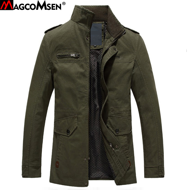 MAGCOMSEN 2017 Man Jackets Male Autumn Army Green Casual Jacket and Coat Windbreaker Cotton Military Style Jackets AG-SSFC-05