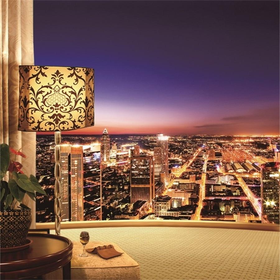Laeacco Vibrant City Night Balcony View Landscape