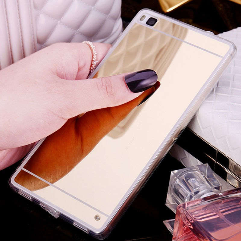 Hot! Luxury Mirrr Electroplating Soft Clear TPU Case cover For huawei P8 / P8 lite P9 /P9 lite Rose Gold Bling