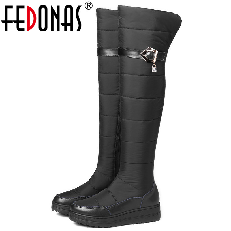 FEDONAS New Arrival Women Over The Knee Snow Boots Platforms Round Toe Keep Warm Russia Long Winter Shoes Woman Tight High Boots new arrival winter flat heel over the knee women boots round toe snow boots knee high warm winter female boots black brown white