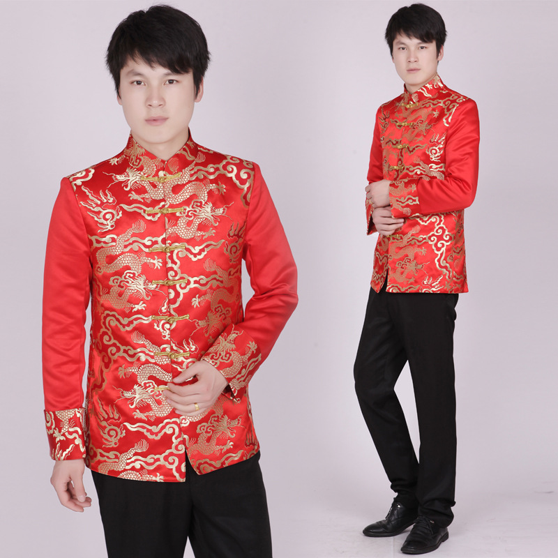 Tunique rouge col montant traditionnel haut deguisement homme broderie Dragon Totem Blouse Costume ancien tunique