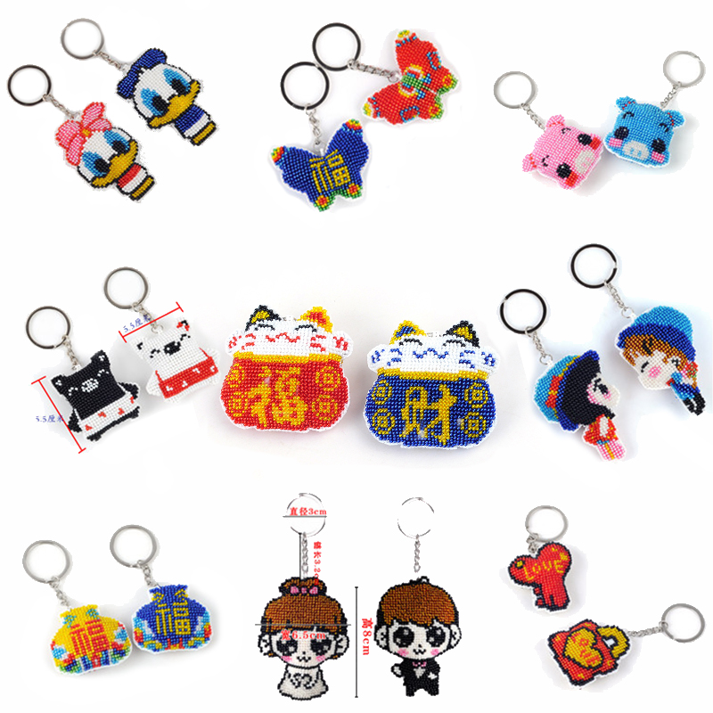 Diy Beads Toys For Children Hand-made Bead Embroidery Cross-stitch Pendant Keychain Precision Printing Bag Accessories Girl Gift
