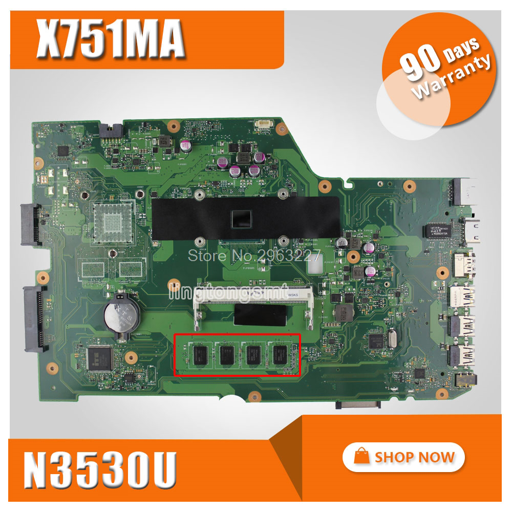 X751MA Motherboard REV:2.0 N3530U 2G Memory For ASUS X751MA X751MD Laptop motherboard X751MA Mainboard X751MA Motherboard цена
