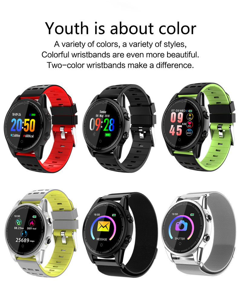 Smart watch fitness waterproof for Android IOS Color