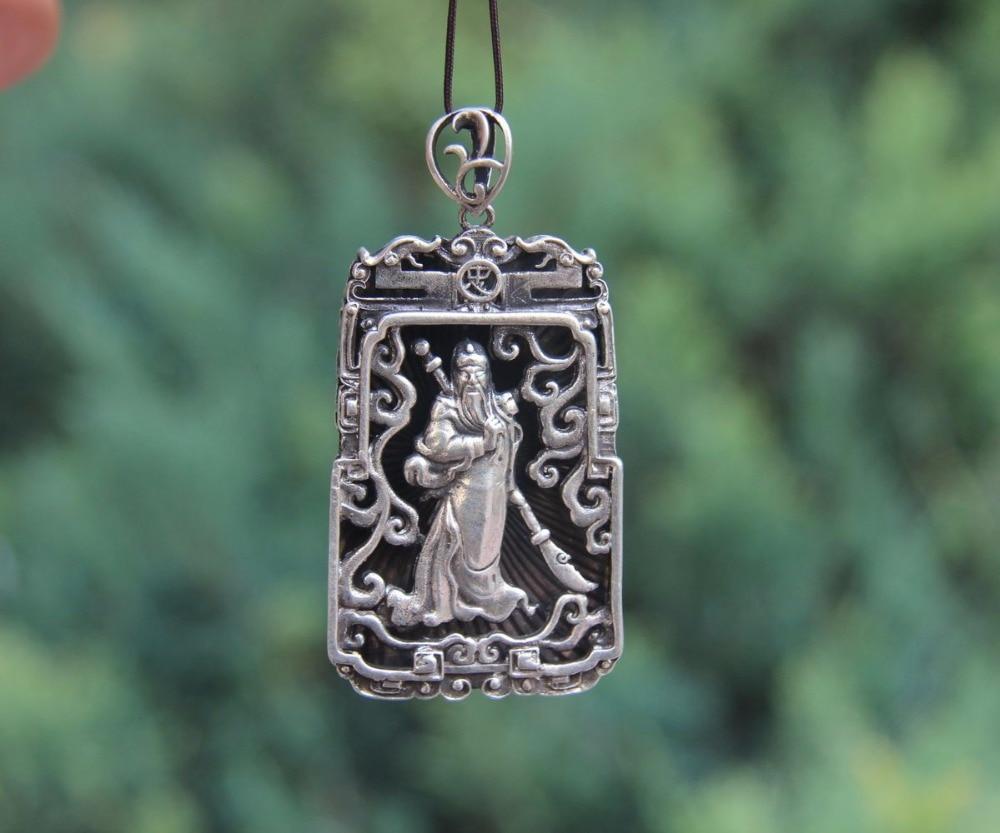 65MM Chinese Miao Silver Shakyamuni Amitabha Buddha Sakyamuni Pendant Amulet 002
