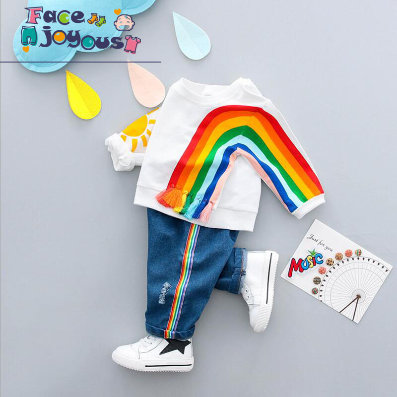 Girl Boys Clothing Sets Sport Suit Rainbow Baby Kids Suits 2 Pcs Kids Solar Shirt + Denim Pants Children Clothes Tracksuit autumn winter boys clothing sets kids jacket pants children sport suits boys clothes set kid sport suit toddler boy clothes