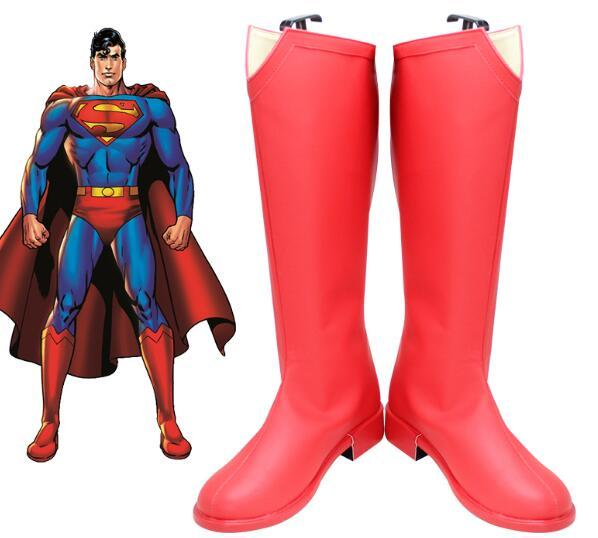 Supergirl Season 2 Costume Superman Clark Kent Cosplay Boots Red Shoes Leather Halloween Carnival Cosplay Accessories Props image