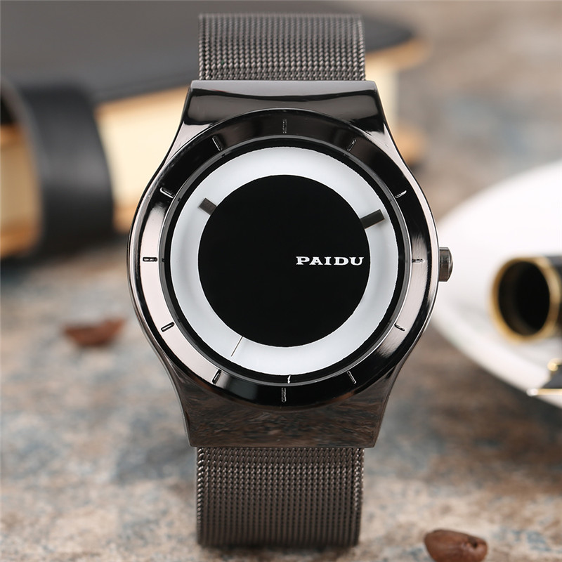 PAIDU Mens Watch Creative Turntable Dial No Words Design Unique Clock Male Stainless Steel Mesh Band Quartz Sports Reloj Hombre paidu fashion unique brand black silver quartz metal mesh band wrist watch mens boy turntable dial digital gift wristwatches
