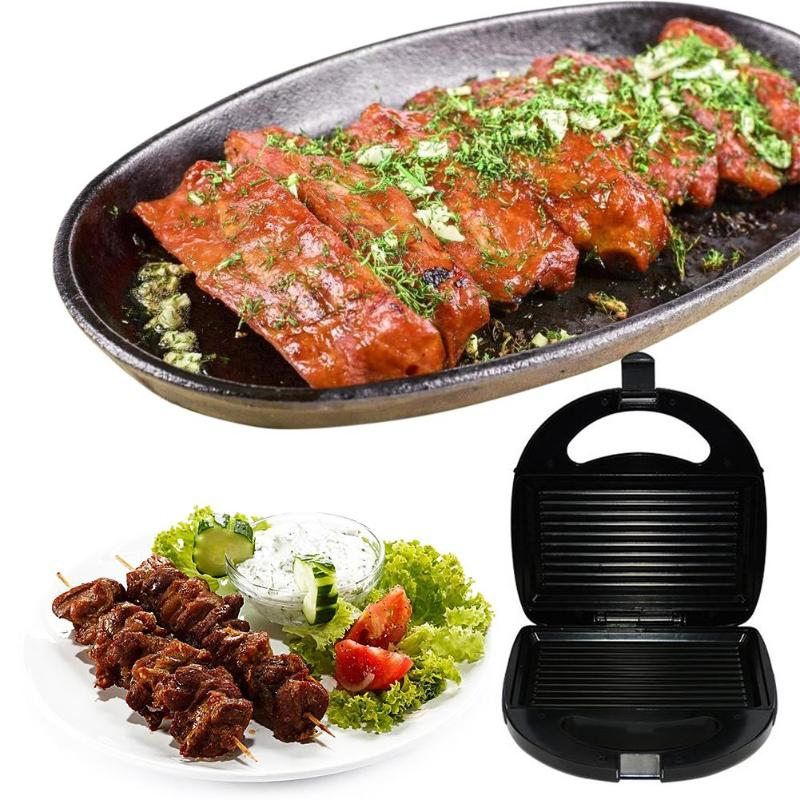 Non-stick Electric Sandwich Makers Roast Meat Sausage Hamburger Steak BBQ Grilling Plate Waffle Toaster Breakfast Machine