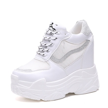 Fashion Women Wedge Sneakers Breathable Walking Shoes Height Increasing Mesh Outdoor Sports Free PU