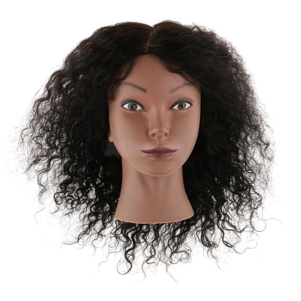 Silicone Cosmetology Hairdressing Practice Training Mannequin Head With Human Hair Mount Hole Color Style Cut African American mannequin head african american afro hair with manikin for practice styling braiding