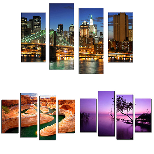 Cassie Housedaily Store 4 Pcs Frameless Canvas Painting Pictures Freehand Sketching Living Room Art Decor