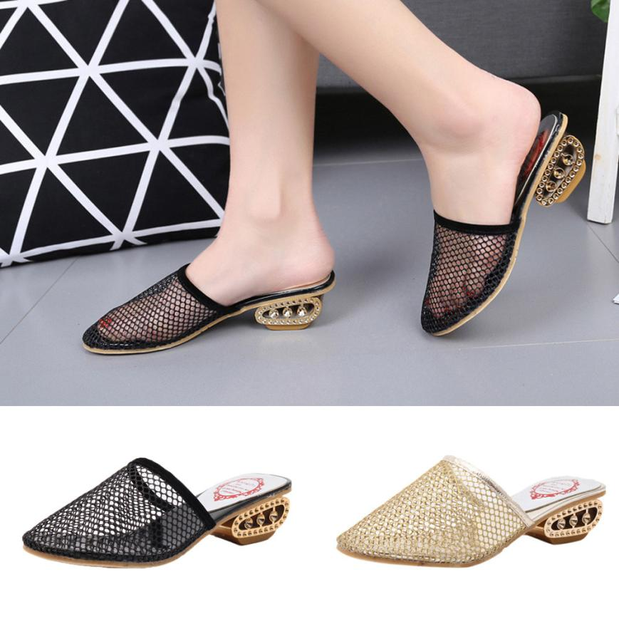 SAGACE Shoes Flip flops Baotou Slippers Thick Mesh Fashion Casual Cool Slippers Stylish Slippers casual shoes women 2018JUL12