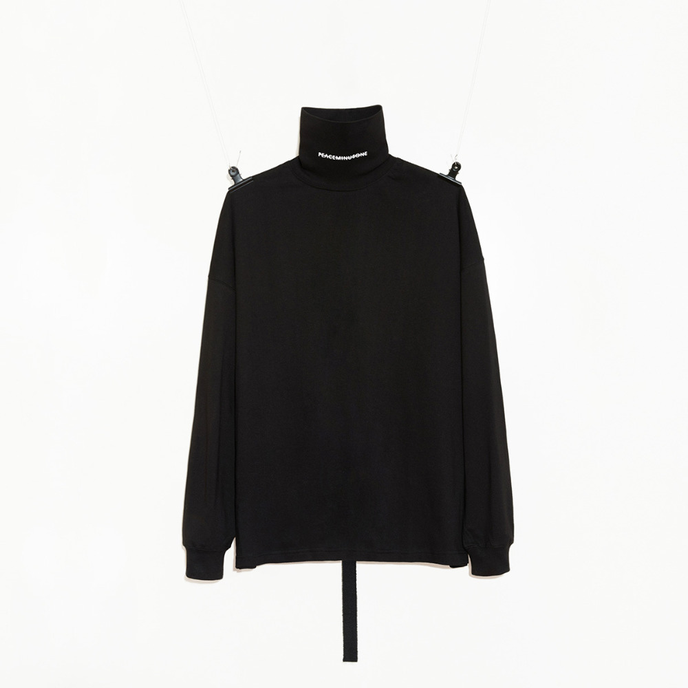 NEW!G-Dragon Style Peaceminusone PMO Turtle Neck Long Sleeve Long Sleeve Shirt Black And White Top Shirt