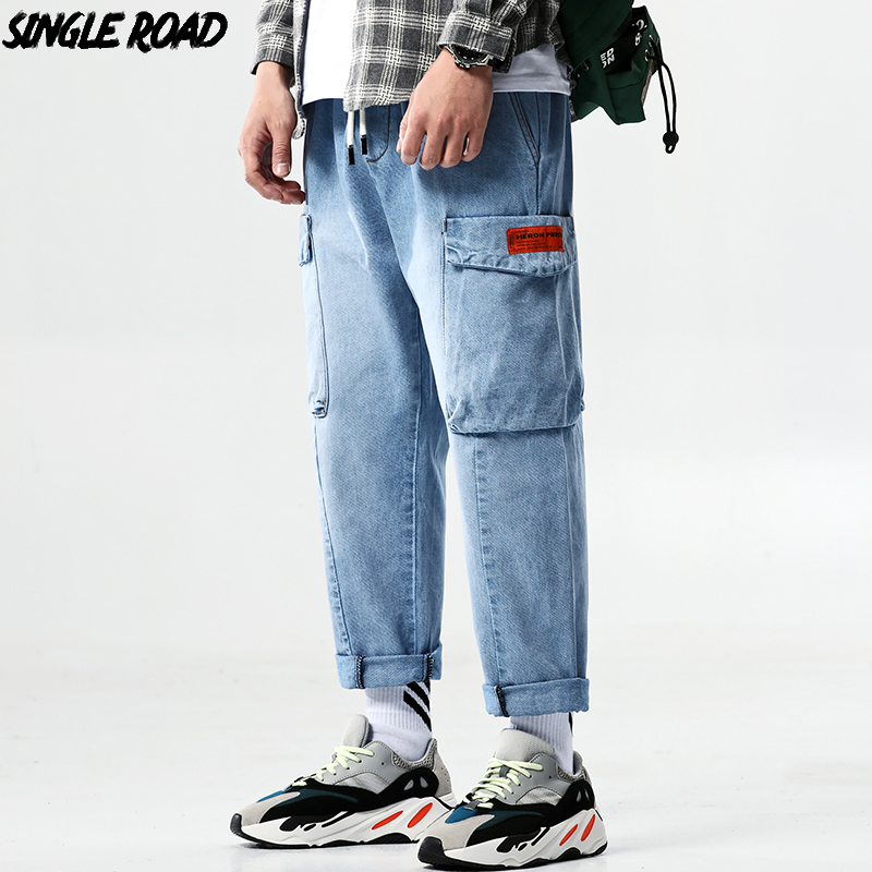 SingleRoad Wide Leg Jeans Men 2019 Blue Side Pockets High Quality Straight Denim Pants Male Ankle Length Streetwear Hip Hop Man