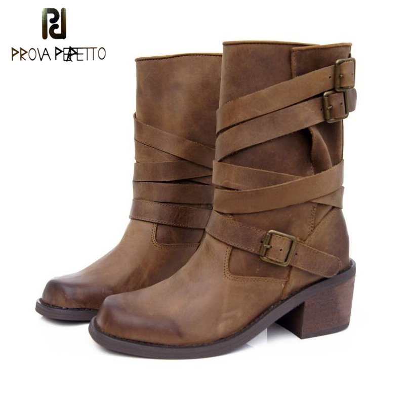 Prova Perfetto Slip On Cow Leather Buckle Belt Women Mid-calf Boots Square Toe Thick High Heel Leisure Motorcycle Boots Feminino prova perfetto winter women warm snow boots buckle straps genuine leather round toe low heel fur boots mid calf botas mujer