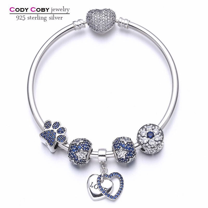 New 100%925 sterling silver heart bracelets & bangles with blue star beads paw print DIY charms for women fashion Luxury Jewelry mirage pet products 20 inch patriotic star paw screen print shirts for pets 3x large white