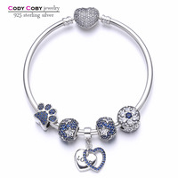 New 100 925 Sterling Silver Heart Bracelets Bangles With Blue Star Beads Paw Print DIY Charms