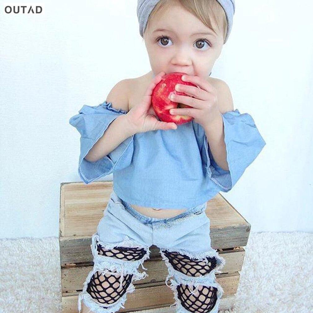OUTAD 2 шт. Bbay Комплект одежды для девочек Топы и джинсы Мода с плеча без бретелек ком ...