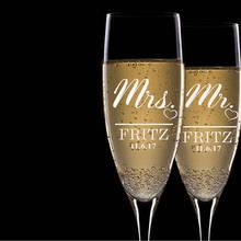 Набор из 2 Персонализированные г-н Mrs фамилия Свадебные торжественные флейты, свадебные бокалы для шампанского, Пользовательские Свадебные бокалы