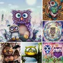 Full Drill 5d Diy Diamond Painting Owl Diamant Cartoon Animal 3d Embroidery Scape Abstract Art Home Decor Y13