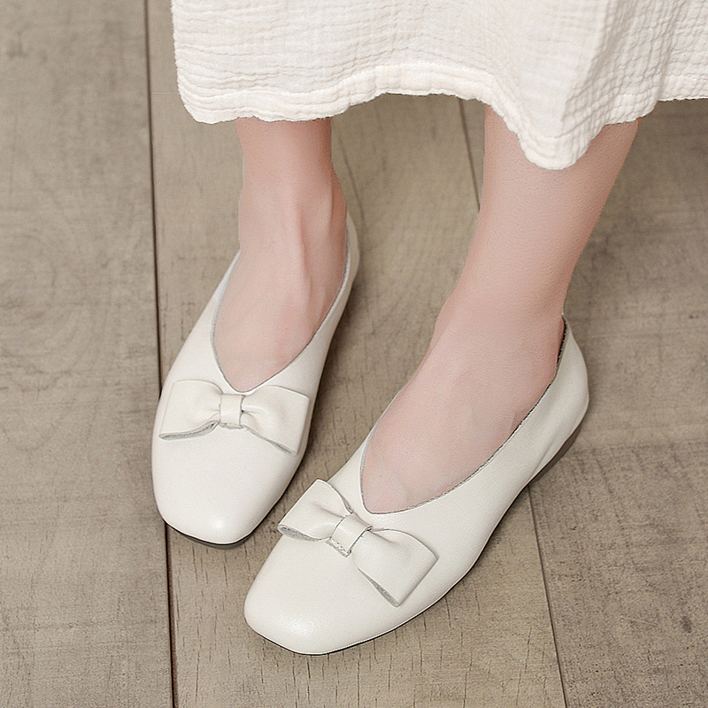 Artdiya genuine leather women shoes handmade shoes bow shallow mouth single shoes female wild comfortable soft bottom flat shoes in Women 39 s Flats from Shoes