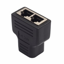 Factory Price 1pc Plastic Copper Core 1 To 2 LAN RJ45 Connector Network Cable Splitter Extender Plug Adapter Connector Black