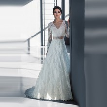 Vintage Mermaid Sparkly Long Sleeve Lace Wedding Dresses 2016 with Sashes White Long Bridal Gowns hot black friday LW22