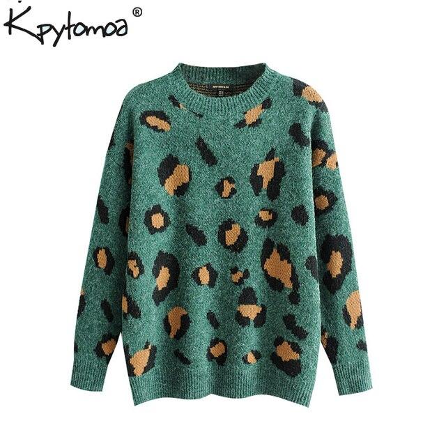 Vintage patrón de leopardo suelto suéter de punto de mujer moda 2019 O  cuello de manga larga estampado Animal suéteres casuales para mujer 7696359520f