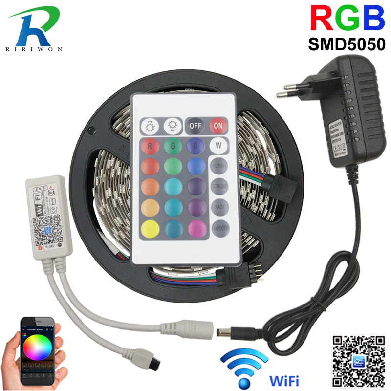 5050 RGB LED Strip 5M WiFi Control smd 5050 LED Strip Home Decoration Lamp Flexible WiFi RGB Controller + 12V 3A Power Adapter