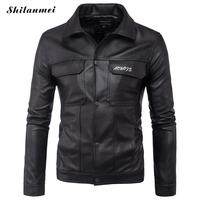 Cool Motorcycle Leather Jacket Men Brand button Slim Fit PU Leather Jacket Men Casual Solid Color Stand Collar Veste Cuir Homme