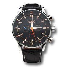 Jaragar бренд класса люкс автоматическая механическая турбийон Lether белый черный мужские наручные часы мужские часы 2016 New бесплатная доставка