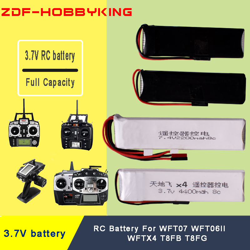 <font><b>3.7V</b></font> 1600mah 2200mah 3200mah 7.4V <font><b>4400mah</b></font> remote control lithium <font><b>battery</b></font> for RC WFT6II WFT07 X4 T8FB T8FG image