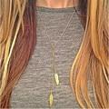 Moda Chapados En Oro de Hoja de Plumas Borlas Collares y Colgantes Para Las Mujeres a Largo Collar de Accesorios de La Joyería de Regalo