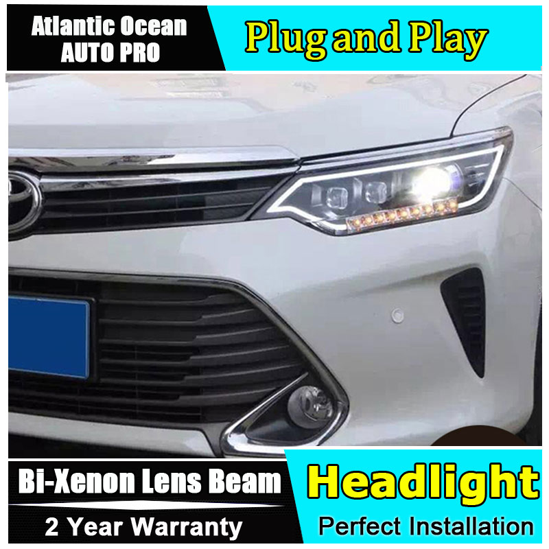 Car Styling LED Head Lamp for Toyota Camry Headlight New Camry V55 led headlight 2014-2015 led drl HID KIT Bi-Xenon Lens low bea headlamp polishing paste kit diy headlight restoration car plastic restore car head light motor cleaner renew lens polish kit