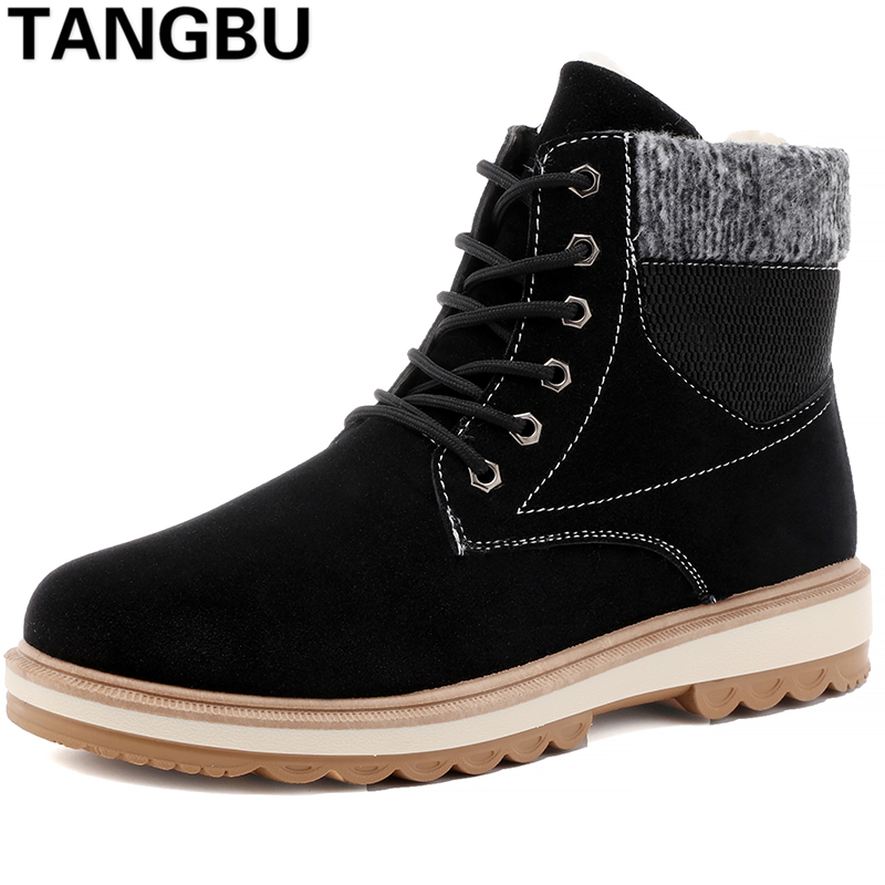 New Arrival Winter Men Snow Boots Lace Up Warm Plush Causal Martin Boots Ankle Botas Outdoor Fashion Men Leather Boots Size39-44