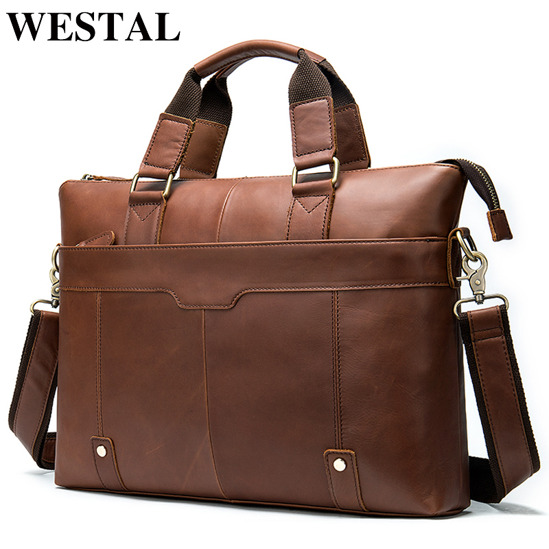 WESTAL Men's Briefcase Leather Laptop Bag Men's Genuine Leather Office Bag For Men's Business 14inch Document Messenger Bag Men