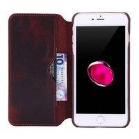 Solque רטרו וינטג 'אמיתי עור מקרי ארנק עור יוקרה כיסוי Flip עבור iPhone 7 בתוספת המקרים טלפון סלולרי עור שמן