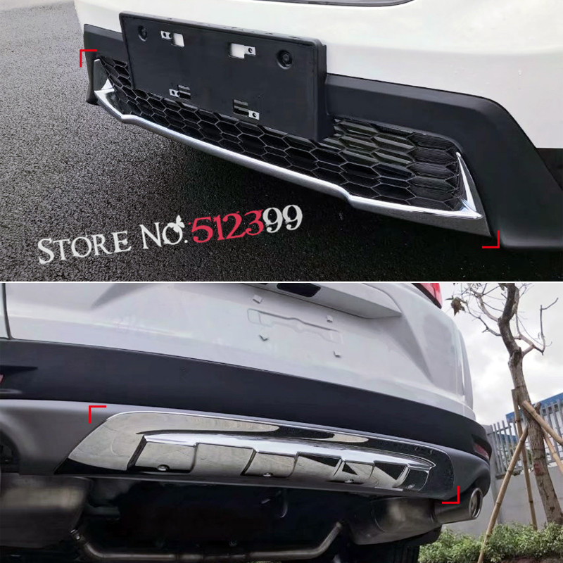 for Honda CRV CR-V 2017 2018 Stainless Steel Front + Rear Lower Below Center Bumper Protector Cover Trim 2PCS / Set Car-Styling for honda cr v crv 2017 2018 suv stainless steel rear bumper protector sill trunk rear guard plate cover trim car styling