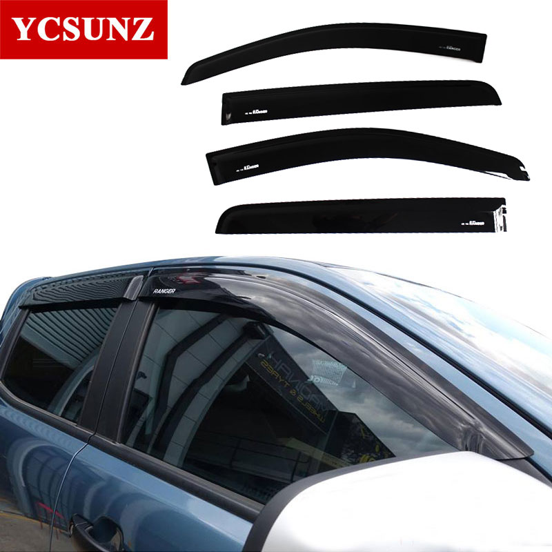 Window Deflector For Ford Ranger Injection Black Car Wind Deflector Visor Vent shade/rain/sun/guard For Ford Ranger T6 2012-2014 4pcs set smoke sun rain visor vent window deflector shield guard shade for cadillac xt5 2016 2017