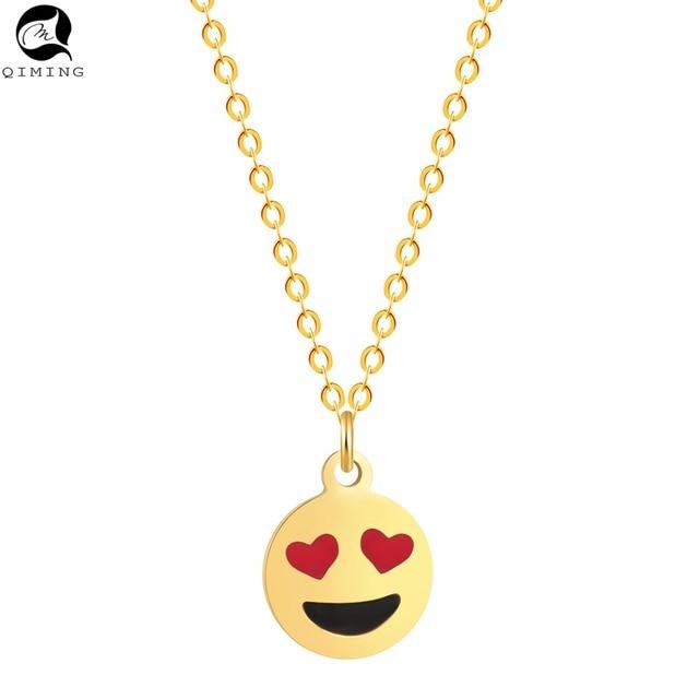 QIMING Love Heart Eyes Emoji Smile Face Pendant Necklace Women