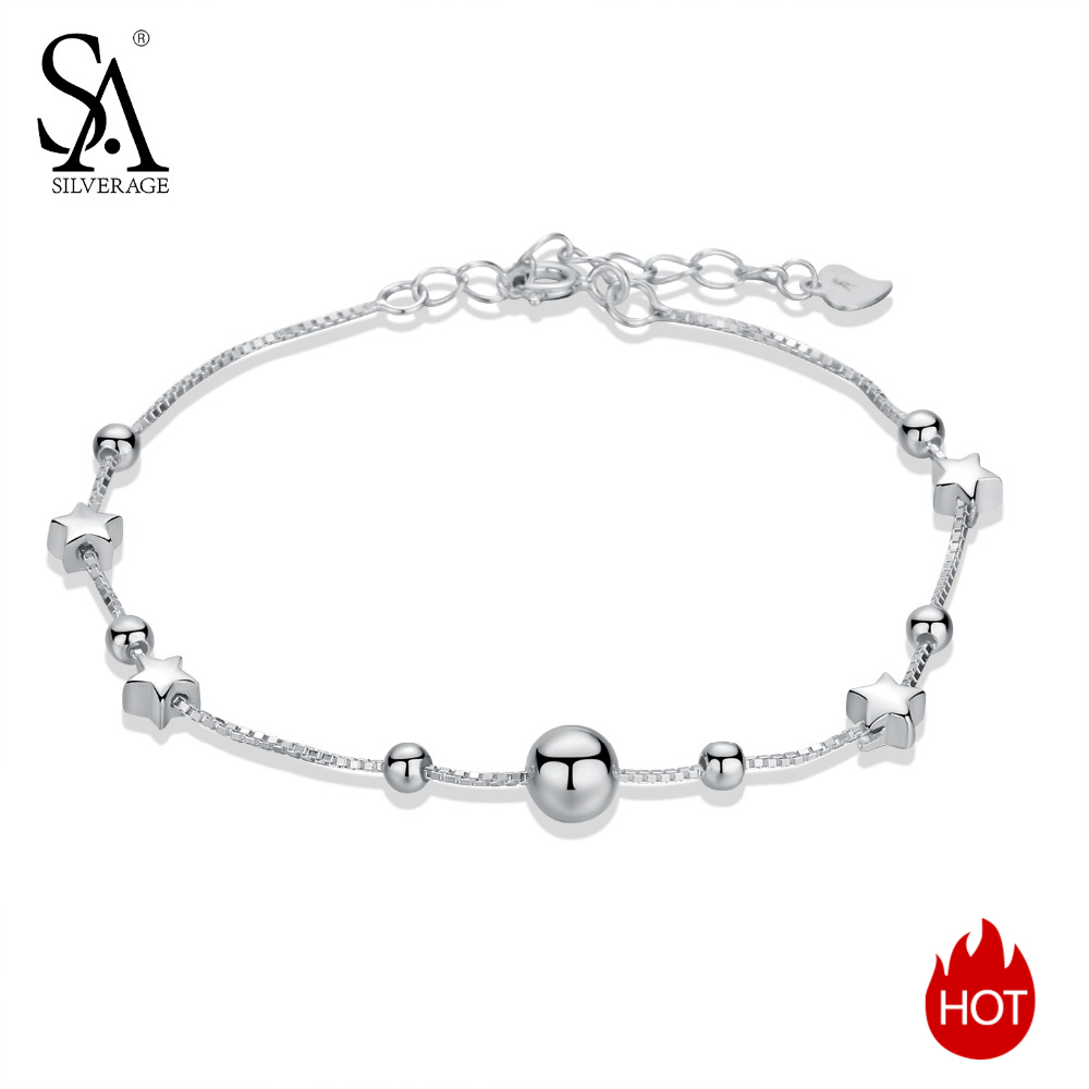 SA SILVERAGE 925 Sterling Silver Charms Bracelets Bangles for Women 925 Silver Star Ball Chain Link Bracelets Pulseira Feminina pulseira masculina buddha bracelets silver tone link chain bracelets bangle for mens jewelry gift good quality free shipping