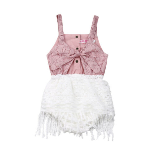 Emmababy Summer Newborn Baby Girls Clothes Lace Tassel Romper Tassel Jumpsuit Outfits Baby Clothing