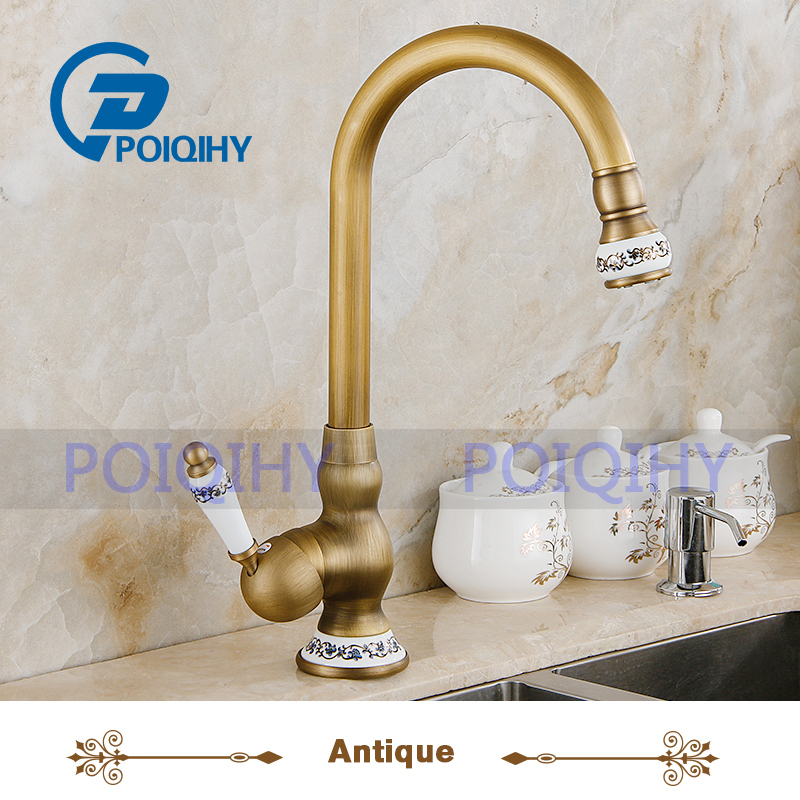 POIQIHY Antique Bathroom Sink Mixer Basin Faucets Deck Mounted Bathroom Faucet Brass Hot and Cold TAP basin faucets brass antique deck mounted kitchen bathroom sink faucets dual handle vintage carving hot cold mixer tap ld10121aab