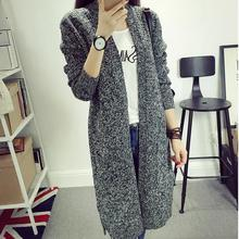 2017 Autumn Girls's Vogue Easy Strong Coloration V-neck Lengthy-sleeved Knit Cardigan Facet Pockets Lengthy Sweater Winter Vestidos Girls