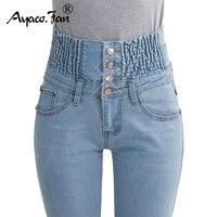 2017 ג 'ינס נשים גבוהה מותן אלסטי ארוך ג' ינס סקיני עיפרון 40 ג 'ינס אישה מכנסיים בתוספת גודל שומן גברת Feminina Camisa מכנסיים